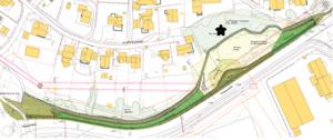 Den svarte stjerna viser hvor spuntarbeidene skal utføres. På kartet er også den nye gangveien på østsiden av Kloppaveien tegnet inn.